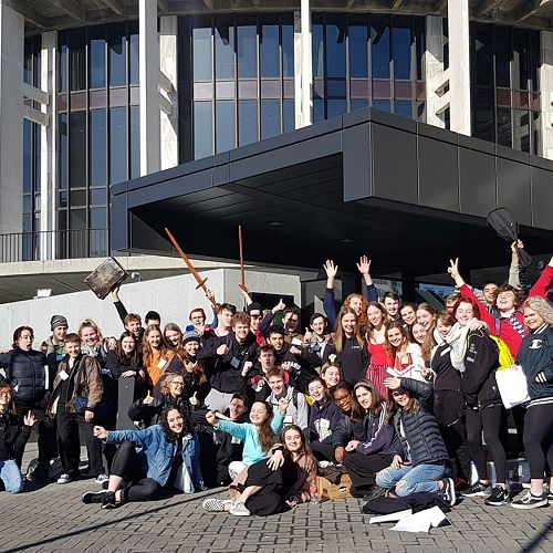 NSSP (National Shakespeare Schools Production) students outside Parliament in Wellington