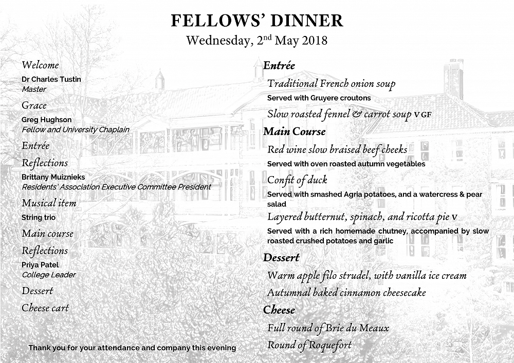 Fellows' Dinner 2 May 2018