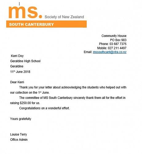 Thank You from MS Society of New Zealand