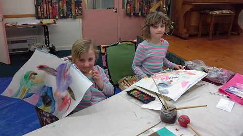 Alicia and Sophie join in the painting during scho