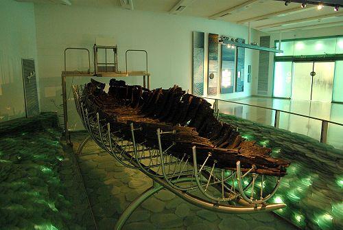 First Century wooden boat in Kibbutz Ginosar.