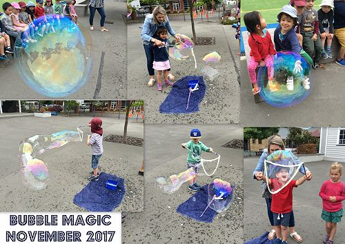 Sarah demonstrating how to make Giant BUBBLES
