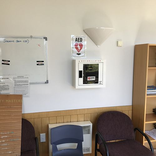 Location of the automated external defibrillator (AED) - Boarding House, John McGlashan College