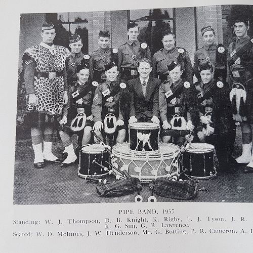 1957 Pipe Band.  Drum Major George Lawrence.
