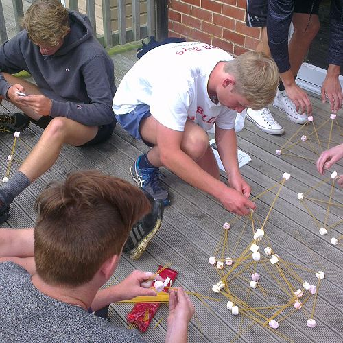 Building marshmallow towers... the marshmallows did not last long!