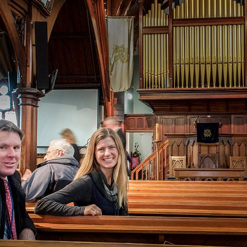 Mr Neil Garry and Dr Jennifer Macleodat the Rangi Ruru Chapel.
