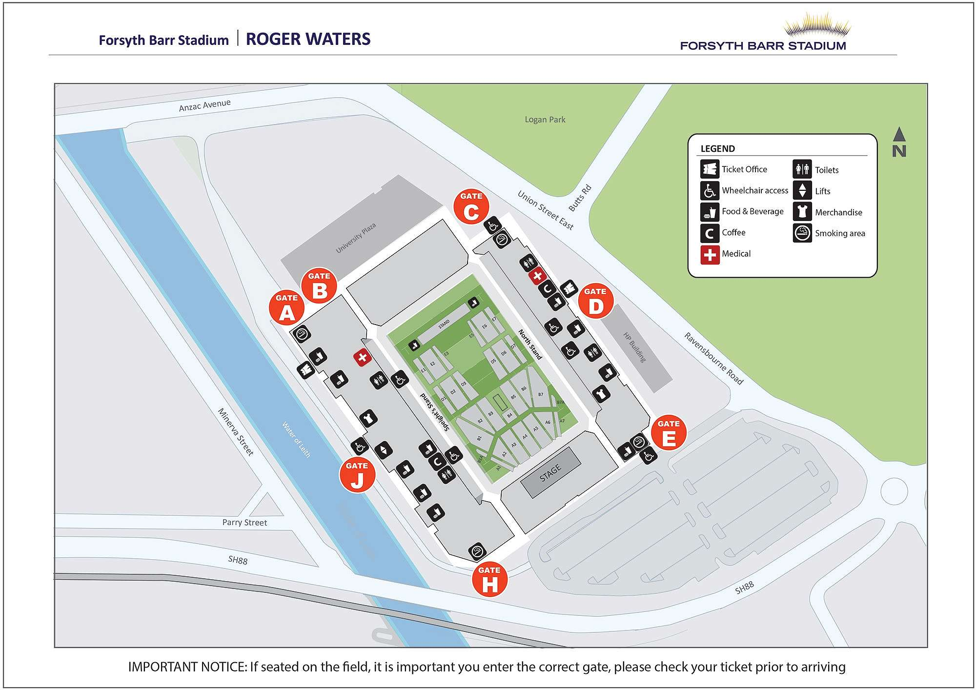 Roger Waters - Venue Map
