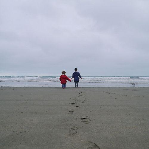 Brother & sister at New Brighton beach