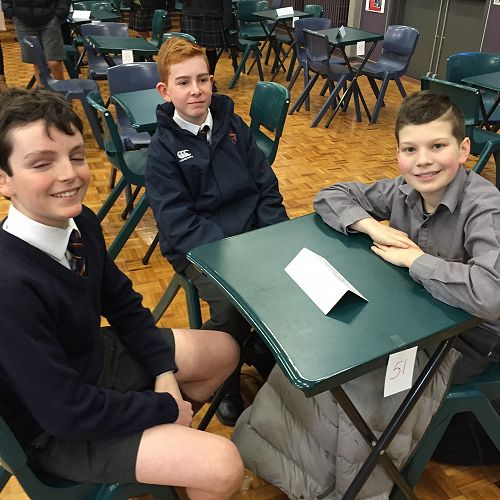 Fin Milne, Alex Hopgood and Jack Lundy waiting patiently for the start of the Year 9 & 10 ODT Social Studies Quiz
