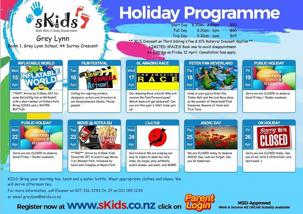 sKids - School April Holiday Programme, 2019 - Newsletter