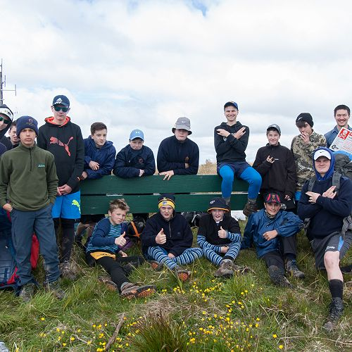 9 MBR take a break at Swampy Summit during their overnight tramp.