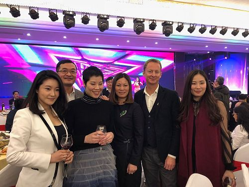 Our China Chief Representative, Joe Zhong at the China Fisheries Association annual meeting in Shanghai, with members of a prominent lobster importing family, and the NZ Trade Commissioner in Shanghai, Damon Paling.