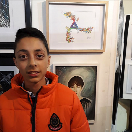 Paris with his artwork at the Waimarino Art Awards in Raetihi.