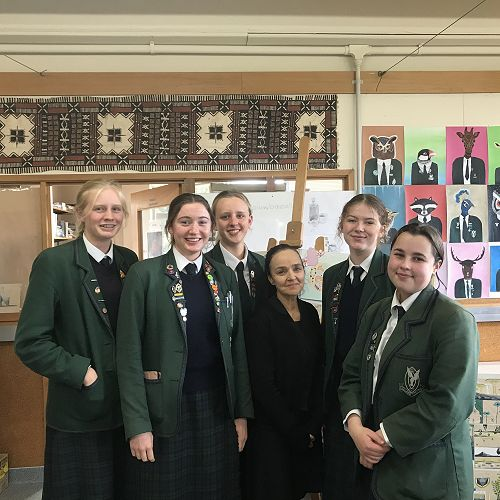 Year 12 Art students with Ms Andrew