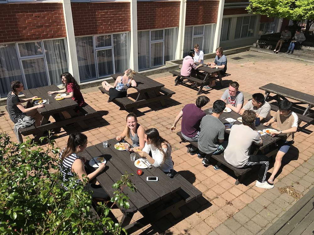 Enjoying lunch in the courtyard - 19 October 2017