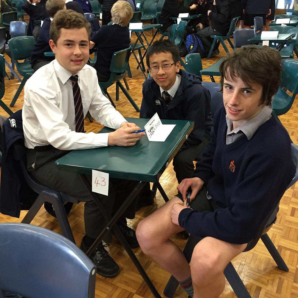 Harrison Biggs, Patrick Zhang and Ben Lund waiting patiently for the start of the Year 9 & 10 ODT Social Studies Quiz