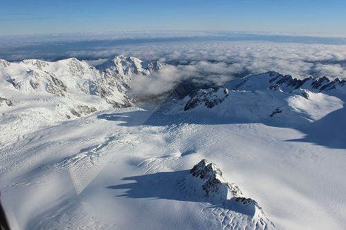 Stunning views as we fly across the Southern Alps.