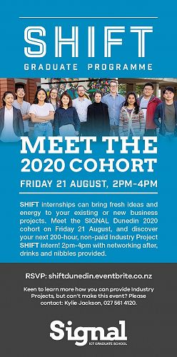 SHIFT 2020 Dunedin Speed Networking event, Friday 21 August 2020