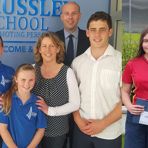 2017 Peerswick Scholarship recipients: Isaac Paul (second from left) and Catherine Marshall (second from right).