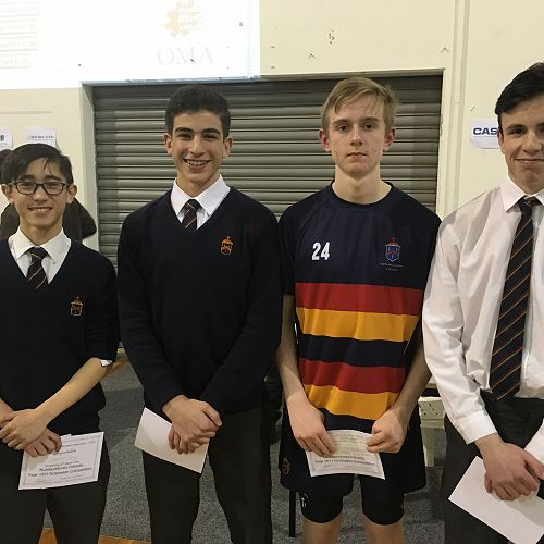 Year 10 - 2nd Place:  William Tong, Ali Dohan, Jed Thomson-Fawcett and Mason Prentice