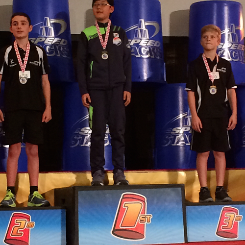 William McLauchlan receives his Bronze Medal at the World Sport Stacking Championships, Montreal