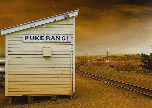 Pukerangi station where the train stops for the Sutton Salt Lake guided walk.