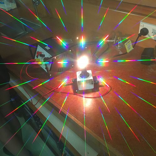 Shows an image taken through some diffraction lens spectacles.