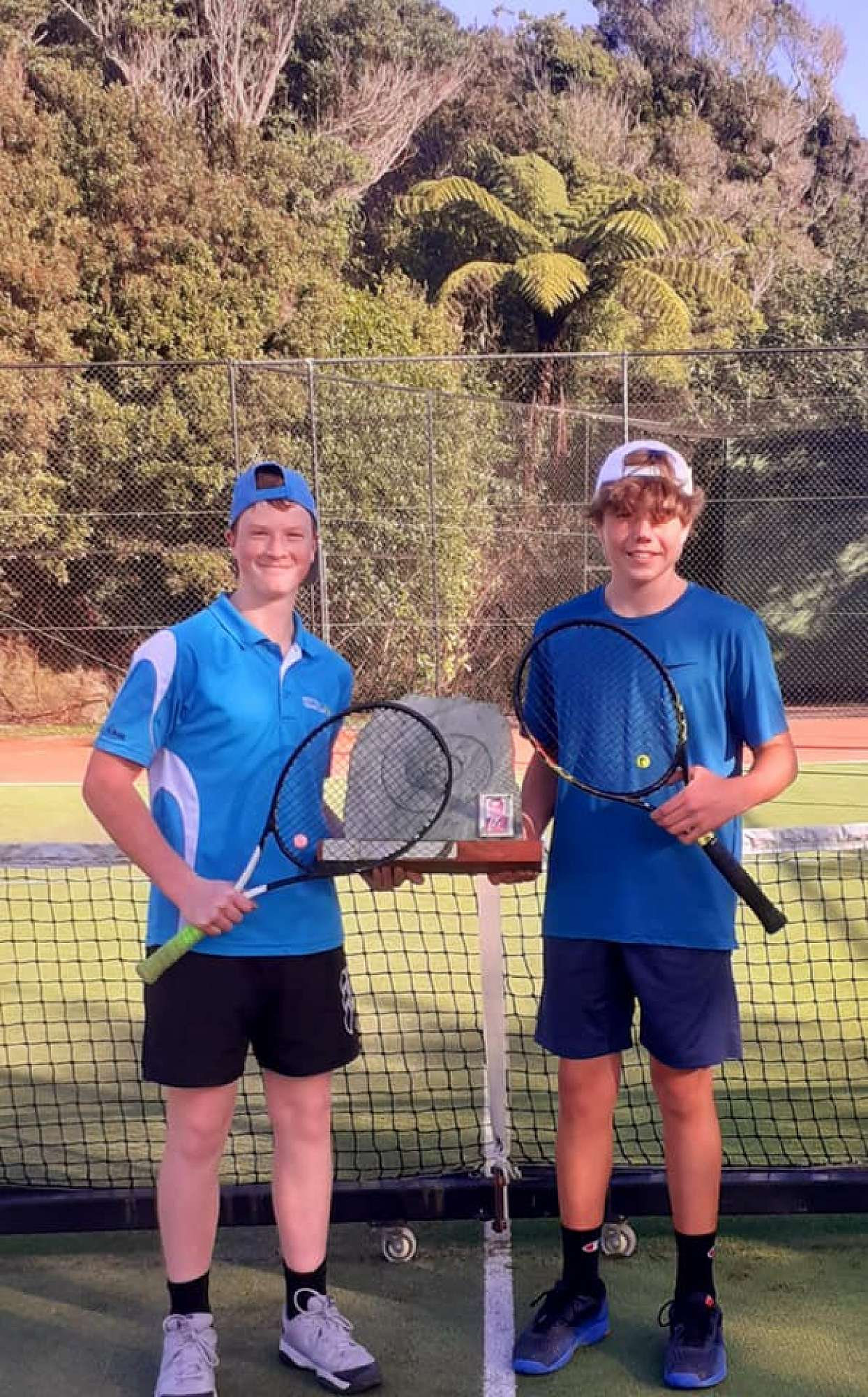Connor Greig and Stanley Vercoe Men's doubles team at the Paroa tennis club tournament