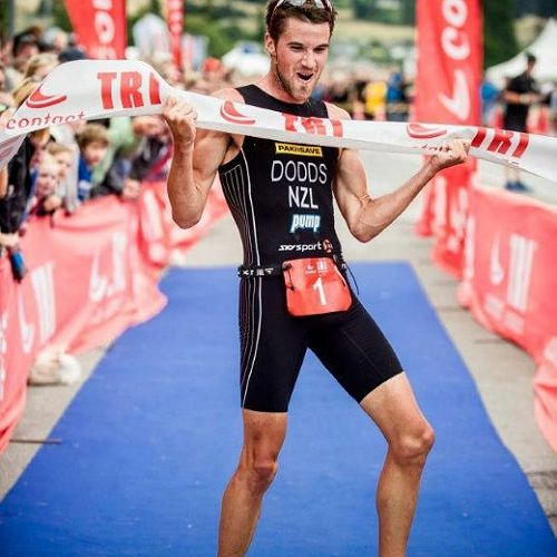 Tony Dodds celebrates winning the Wanaka leg of the Contact Tri Series