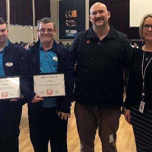 Daniel and Jason with Anton Sutton (Z Energy) and Sarah Parker (Workbridge) after the presentation of their Completion Certificates at the Year 13 Directions Assembly.