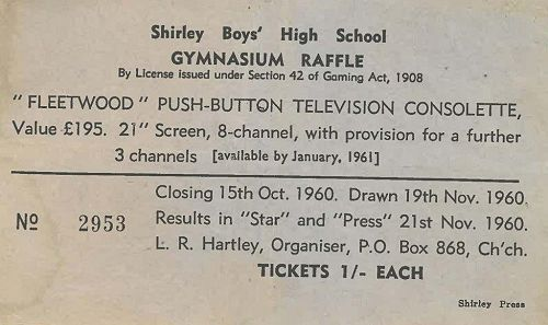 Television was just beginning to change people's lives in New Zealand. An expensive 21-inch set was a worthwhile prize in 1960, especially at a shilling [1/-] a ticket.
