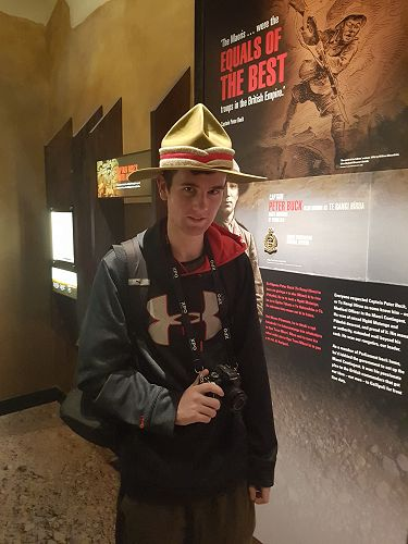 Andrew Stopforth models the NZ army 'Lemon Squeezer' hat at the Gallipoli exhibition in Te Papa.