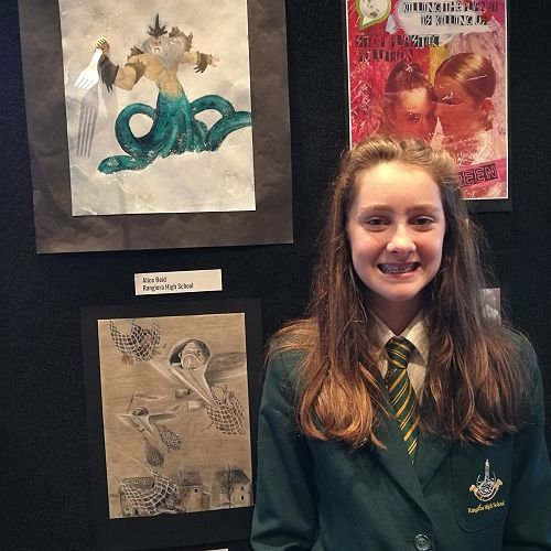 Alice Reid winning 2nd place in the Spoken Word category  in the Year 9-13 Art section.