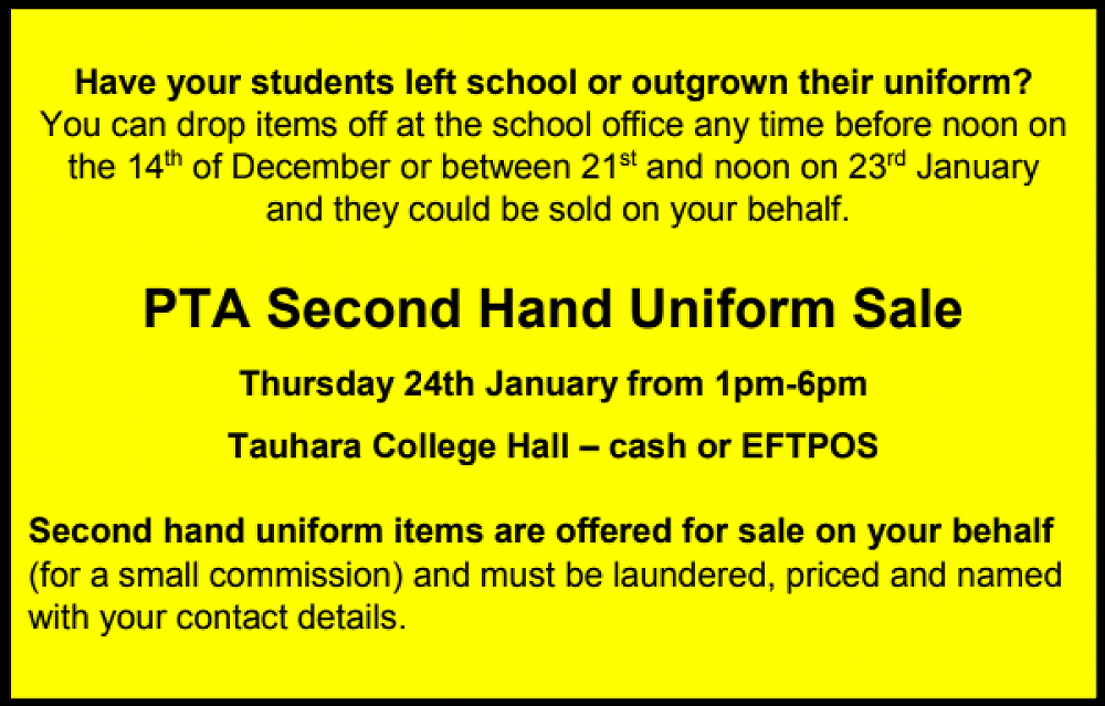 SECOND HAND UNIFORM SALE - December 2018 Newsletter