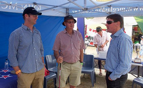 Neil Garry talks to father and son old boys, Murra