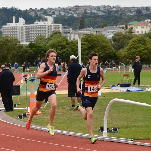 Dom Morrison and Nathan Harrison compete in the Under-14 800m event at the Otago Secondary Schools Athletics Championships