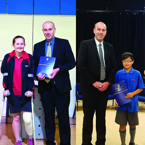 2016 Peerswick Scholarship winners: Bridie McErlain from Avonhead Primary School and Jay Kang from Cobham Intermediate.