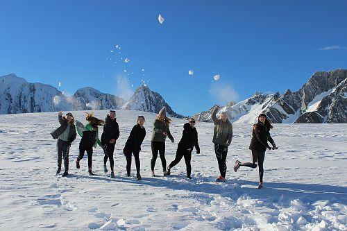 Snowball fight on the Franz Josef Glacier!