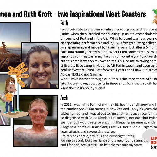 Ruth Croft and Josh Komen - two inspirational West Coasters