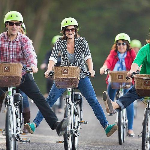 Green bikes - electric powered pedalling at Glenfalloch Garden, Otago Peninsula.