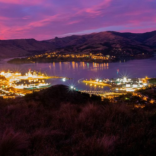 Lyttelton at night by Devin Willers
