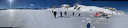The second flight group landed on the Fox Glacier!