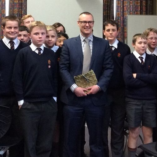 John McGlashan students with David Clark during a recent visit