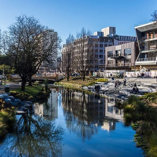 Christchurch's beautiful Avon River in the centre of the city.