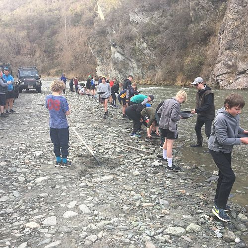 Gold panning at the Arrow River