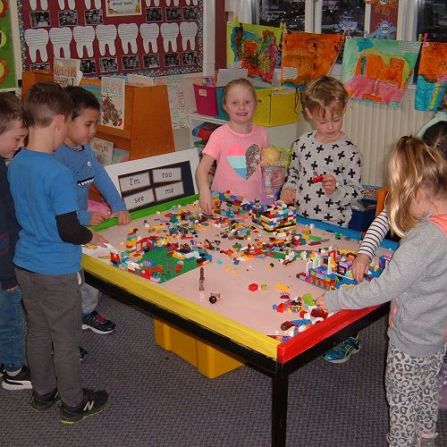 Room 10 with their new Lego Table.