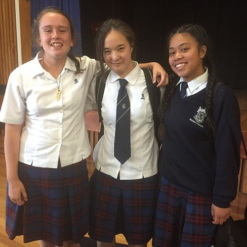 SPEAKING FROM HEART TO HEART: NNC's top Year9 speakers (L-R) Leah Forster (9KCC), Taliah Pham (9ATA) and Tassie Vailalo (9MML).