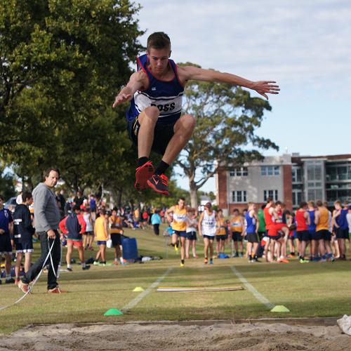 Josh Caldwell gets good air in the triple jump.