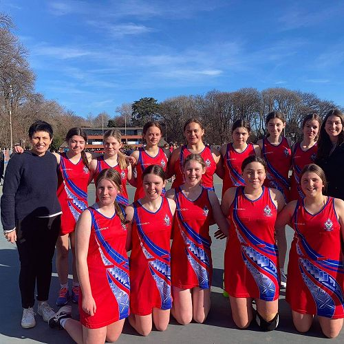 Junior A Netball Team at the South Island Secondary School Tournament at Hagley Park, Christchurch