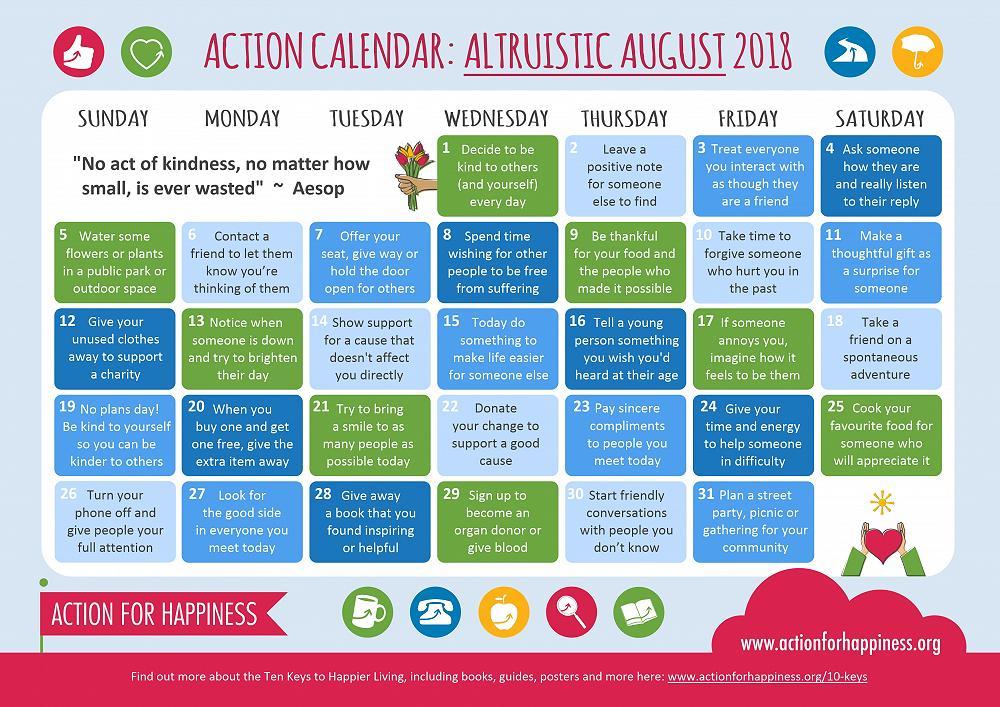 Altruistic August Calendar - WOW Newsletter - 20th Aug 2018